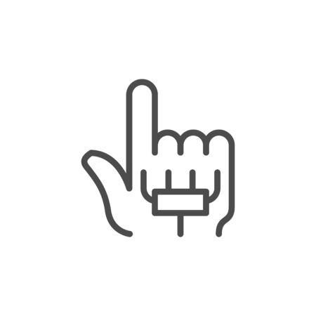 Sensing glove augmented reality line outline icon