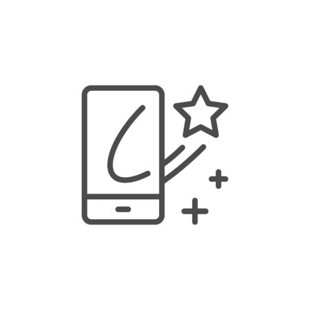 Mobile augmented reality line outline icon isolated on white. Application for wearable device. 3D simulation on smartphone. Vector illustration