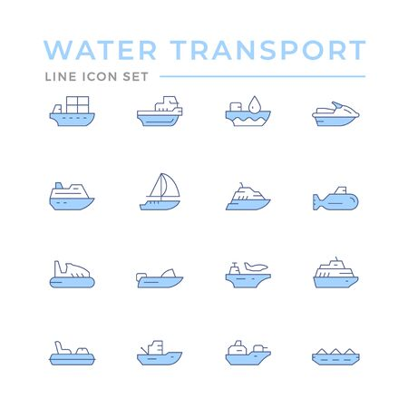 Set color line icons of water transport isolated on white. Vector illustration