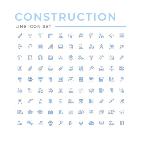 Set color line icons of construction and repair isolated on white. Vector illustration