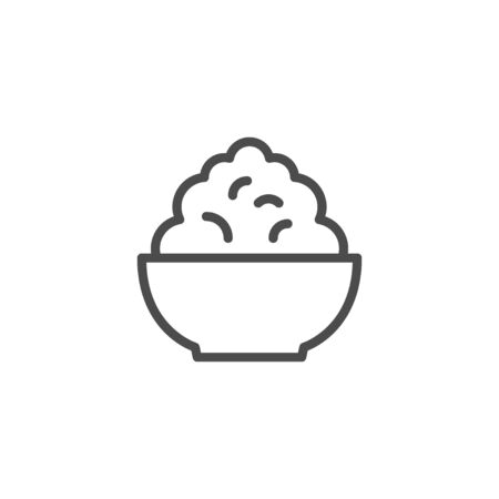 Cottage cheese line outline icon isolated on white. Plate with rustic raw curd. Vector illustration