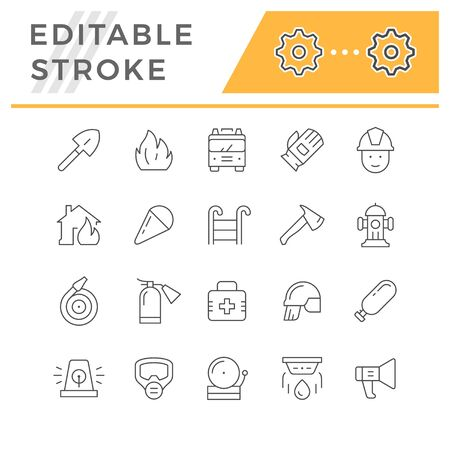 Set line icons of firefighting isolated on white. Editable stroke. Vector illustration