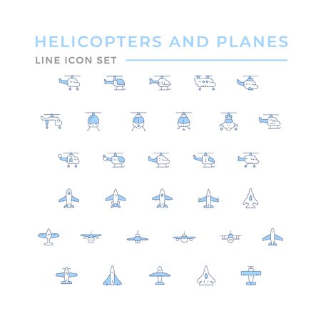 Set color line icons of helicopters and planes isolated on white. Vector illustration