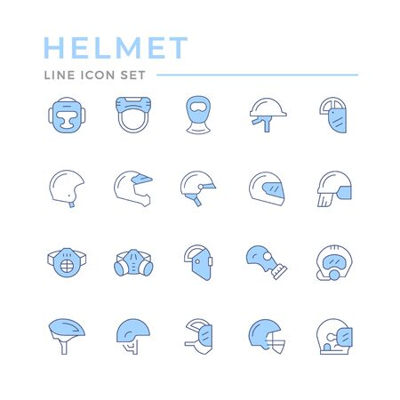 Set color line icons of helmets and masks isolated on white. Vector illustration