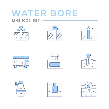 Set color line icons of water bore isolated on white. Vector illustration