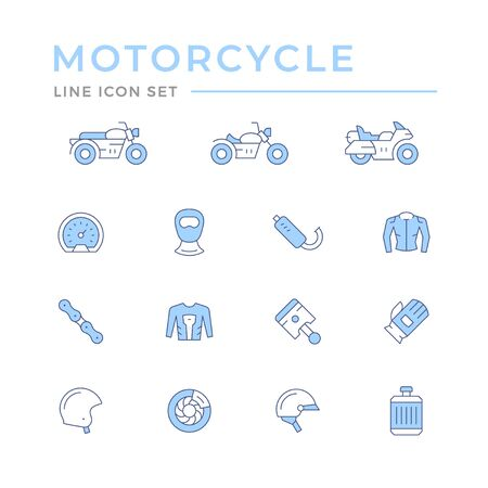 Set of motorcycle related color line icons isolated on white. Vector illustration