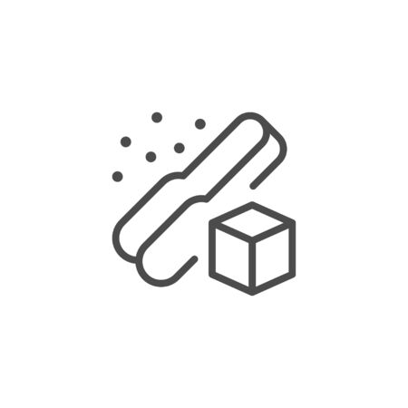 Sugar cube and tongs line outline icon isolated on white. Handle kitchen tool with refined sucrose product sign. Vector illustration