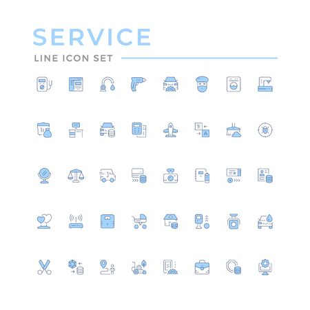 Set color line icons of service isolated on white. Vector illustration Illustration