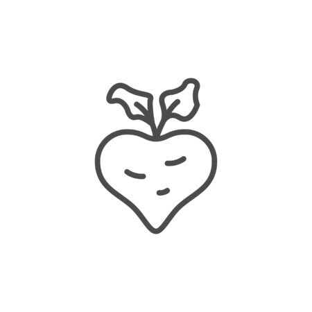 Sugar beet line outline icon isolated on white. Raw vegetable with leaf sign. Healthy food. Vector illustration Illustration