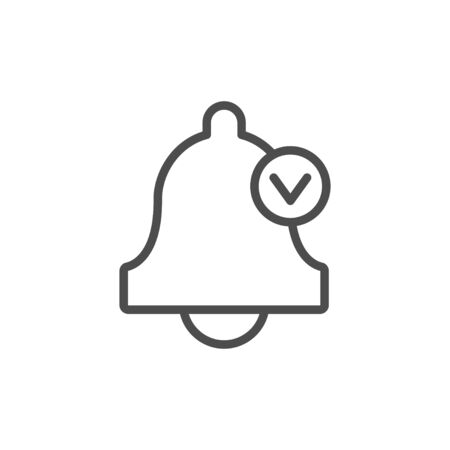 Bell line icon, alarm clock concept isolated on white. Symbol of a ring and check mark. Vector illustration