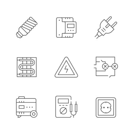 Set line icons of electricity 向量圖像