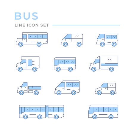 Set color line icons of bus and van Vektorgrafik