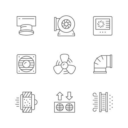 Set line icons of ventilation Vetores