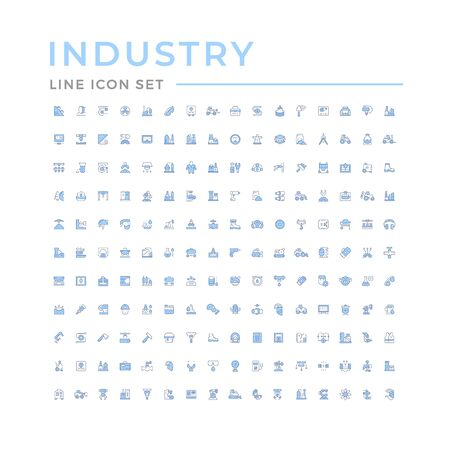 Set color line icons of industry isolated on white. Vector illustration