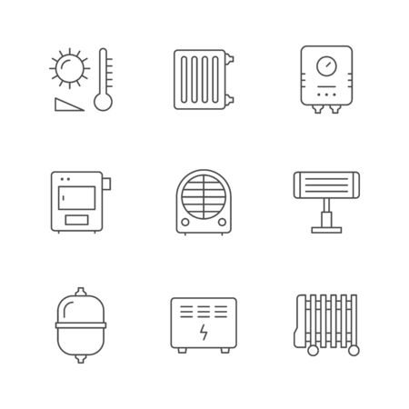 Set line icons of heating isolated on white. Radiator, electric or gas boiler, furnace, convector. Different heater types - oil, fan, infrared. Expansion tank. Climate equipment. Vector illustration