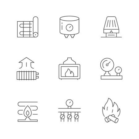 Set line icons of heating isolated on white. Warm electric floor, boiler, burner, manometer, burner, fireplace, thermostatic valve, distribution manifold. Climate equipment. Vector illustration Illustration