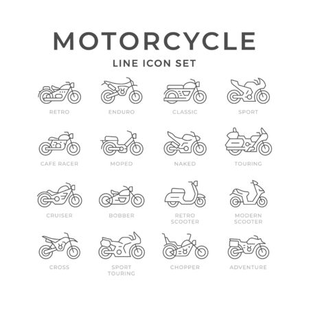 Set line icons of motorcycle isolated on white. Modern and retro scooter. Different types of motorbike, sport, cross, classic, chopper, bobber, naked, touring, cruiser, adventure. Vector illustration Ilustração