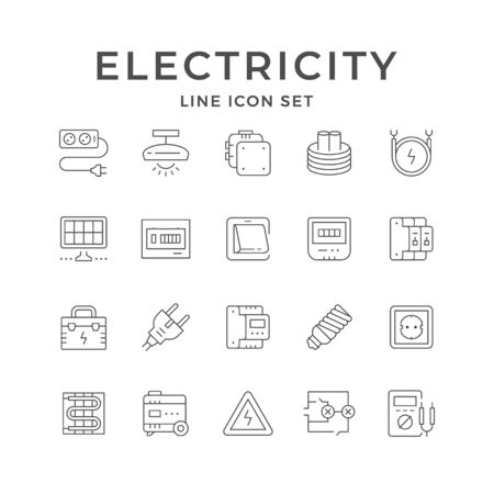 Set line icons of electricity isolated on white. Cable extension, junction box, fusebox, lighting equipment, generator, wall electric switch, meter, socket, circuit breaker. Vector illustration