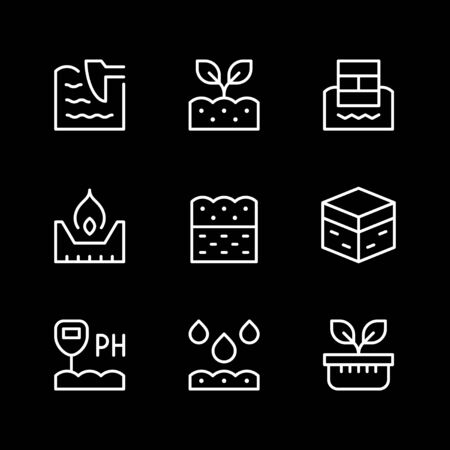 Set line icons of soil