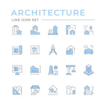 Set color line icons of architecture isolated on white. Vector illustration