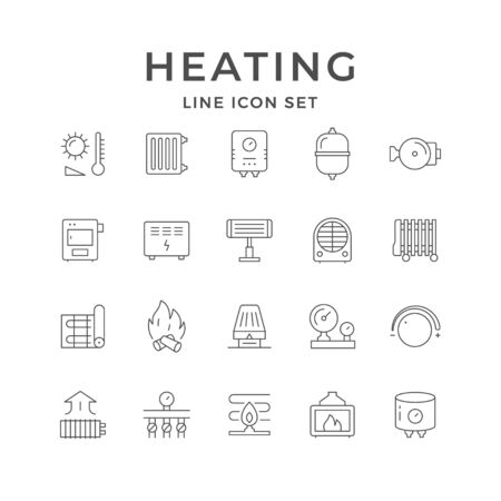 Set line icons of heating isolated on white. Radiator, electric or gas boiler, warm electric floor, convector. Different heater types oil, fan, infrared. Climate equipment. Vector illustration