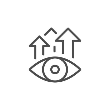 Views increase line outline icon isolated on white. Watch video. Monitoring and promotion. Vector illustration