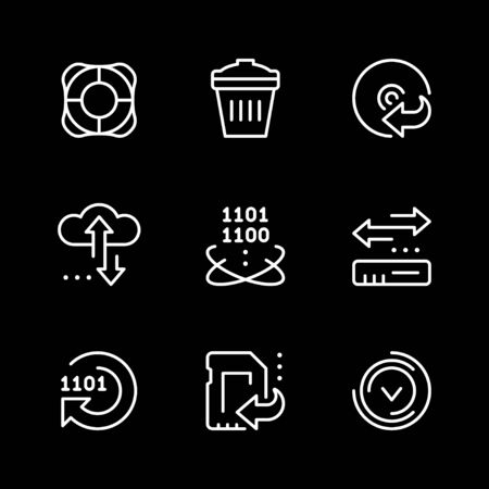 Set line icons of data recovery isolated on black. Vector illustration