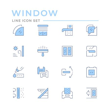 Set color line icons of window isolated on white. Vector illustration