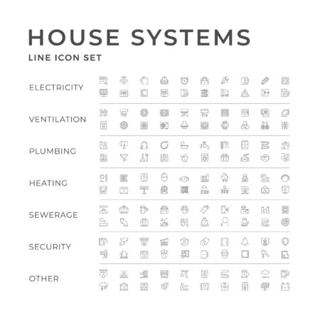 Set line icons of house systems Vettoriali