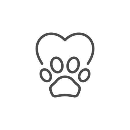 Pet care line outline icon isolated on white. Heart and paw sign. Veterinary, volunteer symbol. Vector illustration