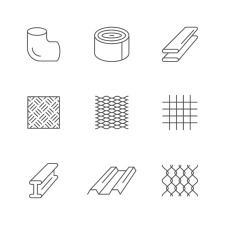 Set line icons of metal products isolated on white. Iron or steel industry. Tube, profiled sheeting, diamond plate, grid, rabitz. Vector illustration