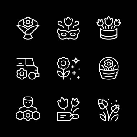 Set line icons of flower isolated on black. Vector illustration