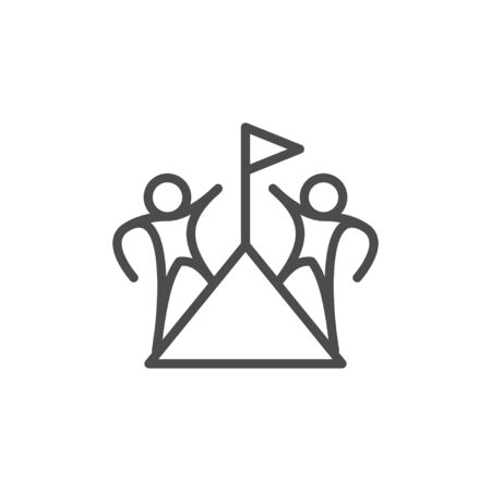 Corporate aim line outline icon isolated on white. Team climb to flag. Challenge, career growth, success and progress of teamwork. Vector illustration Vettoriali