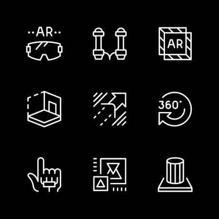 Set line icons of augmented reality