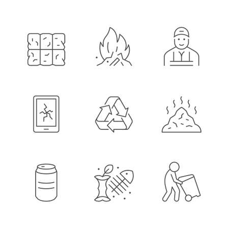 Set line icons of trash 版權商用圖片 - 150989949