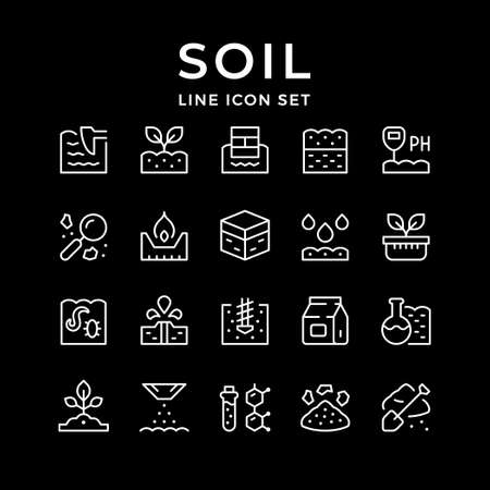 Set line icons of soil 向量圖像