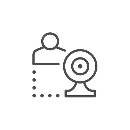 Online communication line outline icon Ilustrace