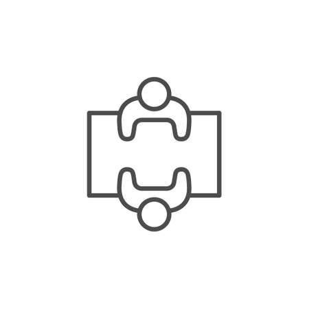 Negotiation line outline icon and meeting concept isolated on white. People talk at table. Communication, interview. Dialog between manager and client. Vector illustration 일러스트