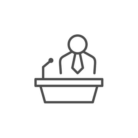 Public speaking line outline icon isolated on white. Business people at tribune. Leader speech, lecture, presentation. Vector illustration