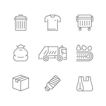 Set line icons of trash isolated on white. Garbage sorting, service truck, clothes, waste bin, lamp, cardboard box, plastic bag. Vector illustration