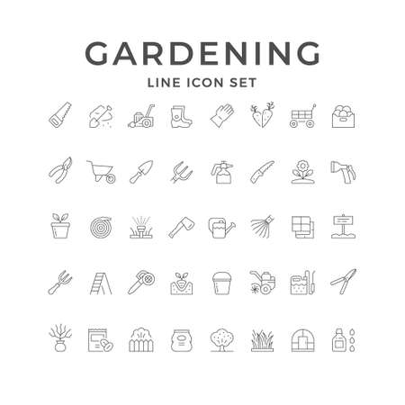 Set line icons of gardening isolated on white. Seedling, greenhouse, lawn mower, grass, wheelbarrow, rake, fertilizer sack, garden scissors, sprinkler, hand saw, sprayer gun, tree. Vector illustration