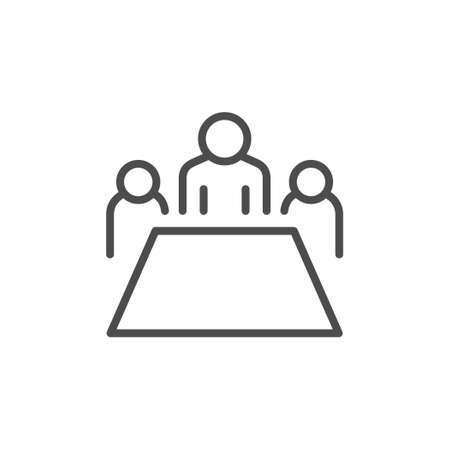 Conference line outline icon and meeting concept isolated on white. Business people, team discussion and communication. Vector illustration 일러스트