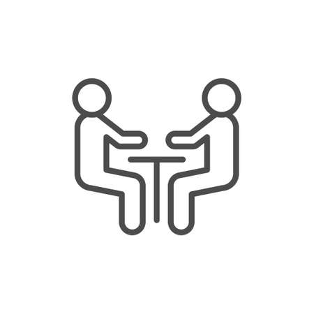 Negotiation line outline icon and meeting concept isolated on white. People talk at table. Communication, interview. Dialog between manager and client. Vector illustration 向量圖像