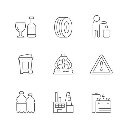 Set line icons of trash isolated on white. Glass and plastic bottle, car tire, person throwing garbage, industrial grab, danger symbol, waste factory, battery. Vector illustration