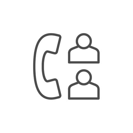 Phone call line outline icon isolated on white. Telephone chat, communication, conversation. Feedback and support sign. Vector illustration Ilustrace