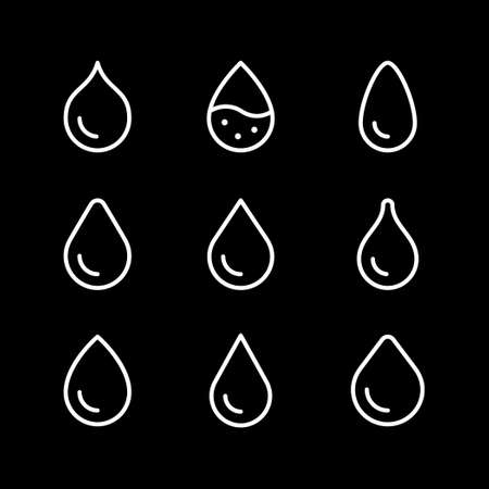 Water drop line outline icon isolated on black. Vector illustration