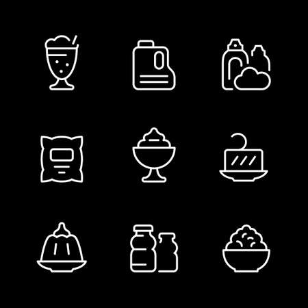 Set line icons of dairy products