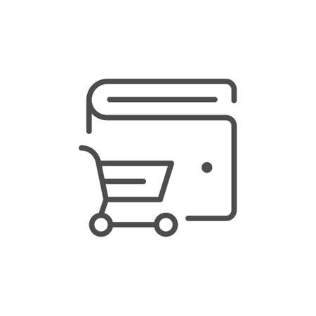 Wallet and shopping cart line icon