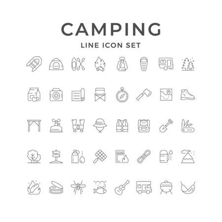 Set line icons of camping 일러스트