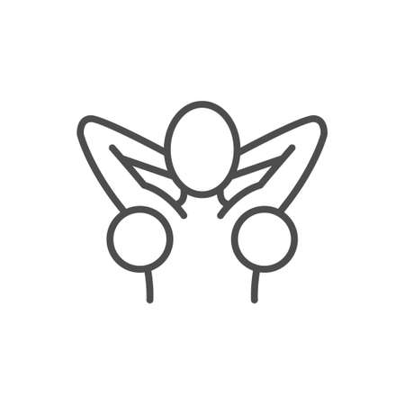 Armpit hair removal line outline icon 向量圖像